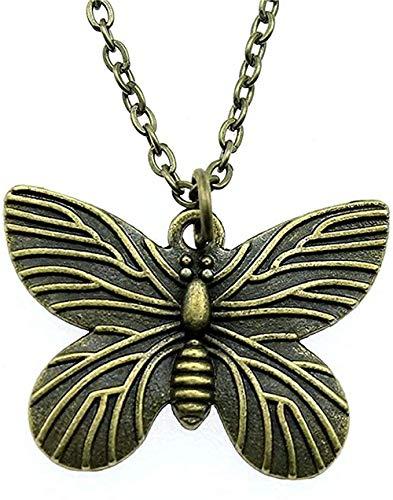 Yiffshunl Collar de Cadena de Mariposa de Moda, Collar de Color Bronce Antiguo de 30x22mm, Colgante, Collar de joyería para Mujer
