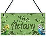 RED OCEAN The Aviary Bird Aviary Sign Bird Accessories For Cage Garden Plaque Gift For Nan Grandad Bird Lover...