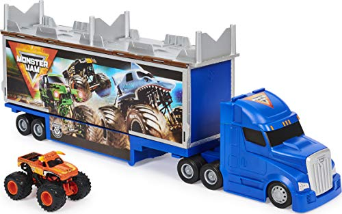 Monster Jam, Official 2-in-1 Transforming Hauler Playset with Exclusive 1:64 Scale El Toro Loco Die-Cast Monster Truck Toy