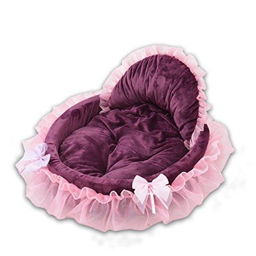 Pet nest Nid de Chien Nid de Chien Nid de Chat Nid de Coton Été Étoile de Princesse Lace (Couleur : Vin Rouge)