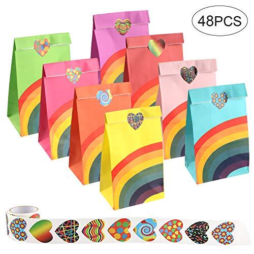Brands 48 Stück Papier Taschen, Kraftpapier Partytüten Set, 8 Farben Regenbogenpapiertüten und 1 Rolle Aufkleber für Partys, Kindergeburtstagsfeiern, Hochzeiten und Weihnachten, 12x8x20,5 cm