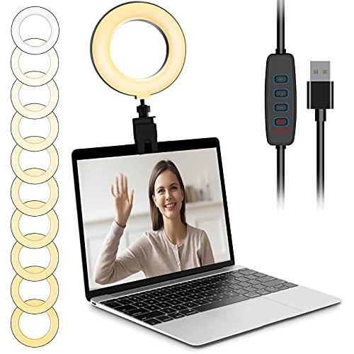 LED Ringlicht mit Clip Laptop Videokonferenz Licht Einstellbar 3 Lichtfarben 10 Helligkeiten, 3000k-6000k Live-Licht 360°Drehbar Ringleuchte für Fernarbeit, Videoanrufe, Live-Stream, YouTube TikTok