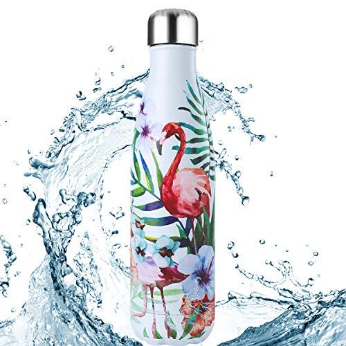 FOCHEA Bouteille d'eau en Acier Inoxydable, 500ml Bouteille d'eau Isotherme Reutilisable Anti-Fuites...