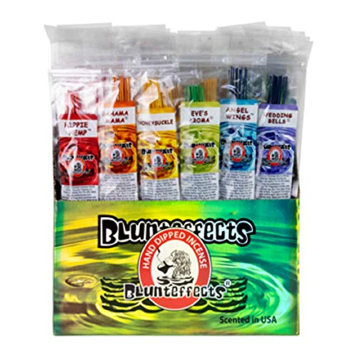 "Blunteffects Premium Hand Dipped Incense - 12 Different scents 12 Sticks Each - 144 11"" Sticks - 300g- 45+ min per Stick"