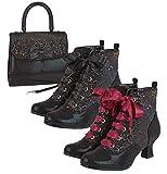 Ruby Shoo Beth Bota victoriana con cordones y bolsa Santiago a juego, color Negro, talla 42 EU
