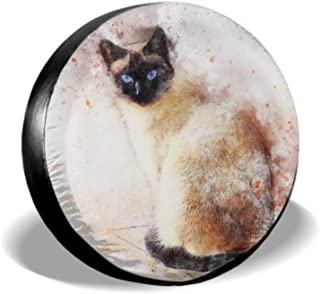 ENEVOTX Cat Siamese Animal Art Pet Abstract Watercolor Wheel Protector Car Jeep Spare Tire Cover Tire Cover Waterproof Uv Sun 14 - 17 Fit for Jeep Trailer Rv SUV and Many Vehicle