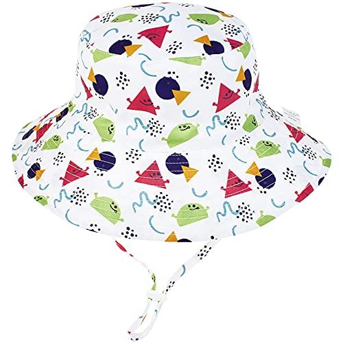 Malaxlx Unisex Kleinkind Sonnenhut Geometrisches Dreieck Fischerhut Kinder Sommerhut Breiter Krempe Strandhut für 2-6 Jahre Mädchen Jungen