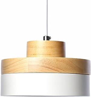 Lámpara Colgante de Metal Industrial Vintage Pantalla de Madera Decoración Colgante Iluminación de Techo Moderna Lámparas de Araña Pequeña para Habitacion Restaurante Cocina (Blanco)