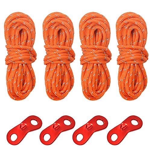 FASTROHY Lot de 4 cordes réfléchissantes en nylon pour tente d'extérieur avec 4 boucles 4 m