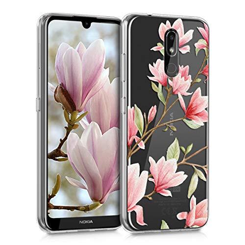 kwmobile Cover Compatibile con Nokia 3.2 (2019) - Custodia in Silicone TPU - Backcover Protettiva Cellulare Magnolie Rosa/Bianco/Trasparente