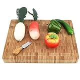 CjnJX-Vases Tabla de Cortar Carnes, Tabla de Cortar de bambú de Grano Grande, Bloque de Utensilios de Cocina, con Base Antideslizante, Ranuras de Goteo y Asas deslizantes (40 x 30 x 4 cm)