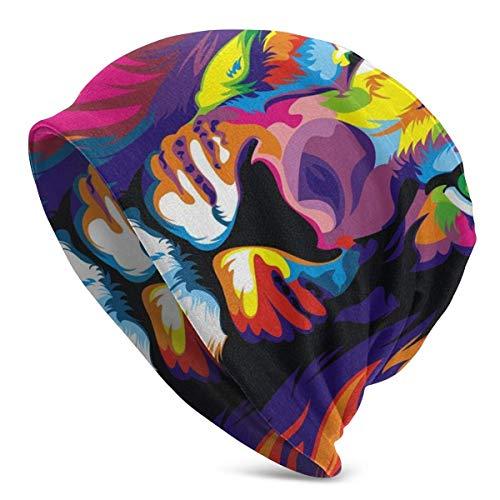 Hdadwy Maravilloso Graffiti Tiger Winter Beanie Knit Sombreros para Hombres Mujeres Warm Skull Cap Black