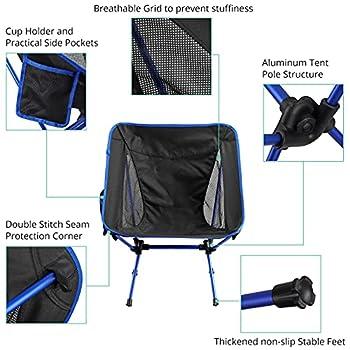 Chaise de Camping Pliante VINTEAM Chaises Portables Ultralégères avec Sac de Transport pour Backpacking Pêche Randonnée Plage Pique-Nique Max Charge 120 kg