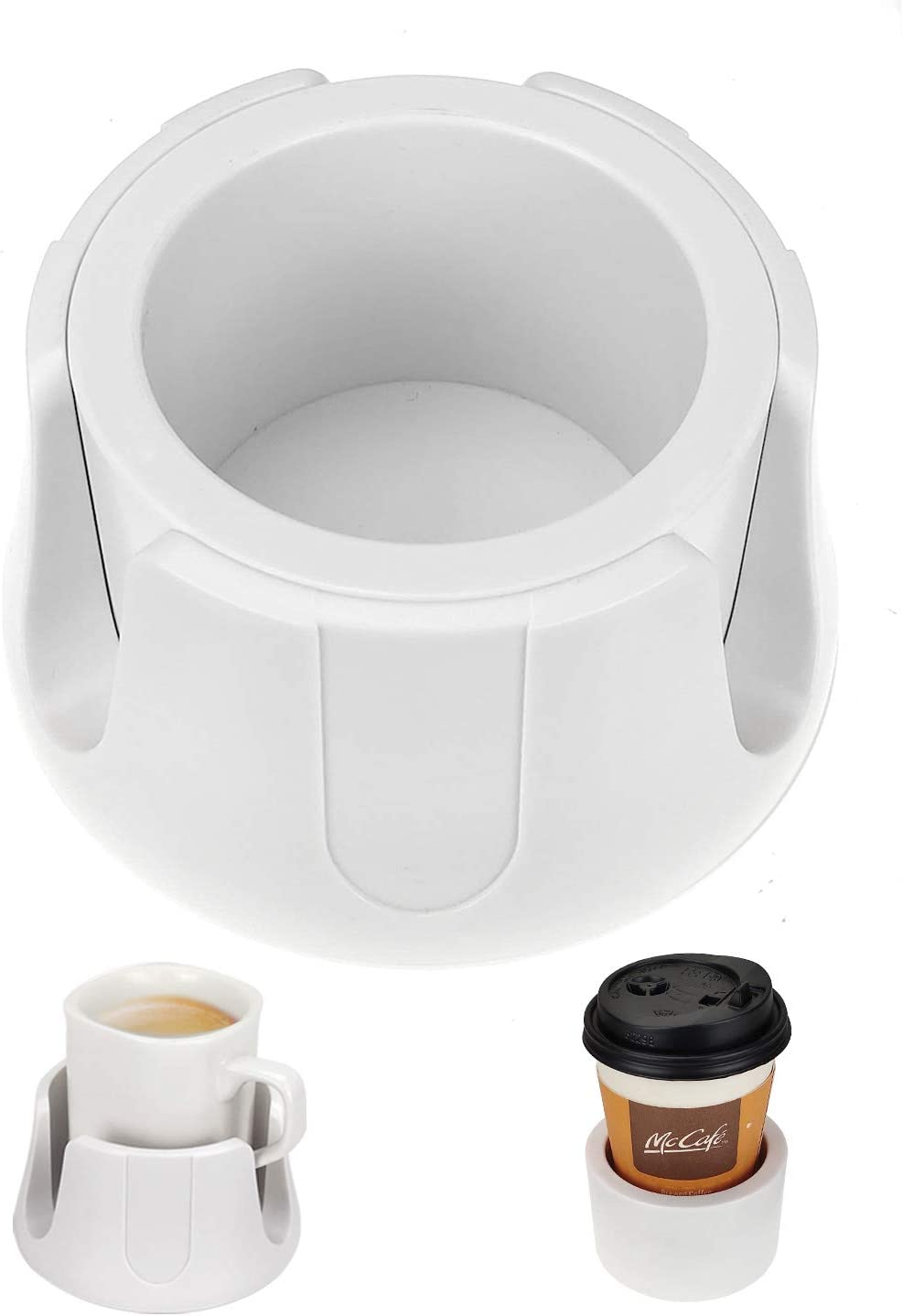 Anti-Spill Cup Holder Drink Coaster with Anti-Slip Mat Fits Drink for Home Office Outdoors (White)