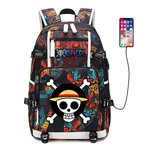 YOYOSHome One Piece Anime Cosplay Bookbag Rucksack Daypack Laptop Bag Backpack School Bag with USB Charging Port (Red 2)