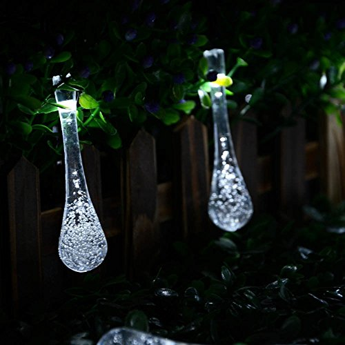 LMK Led String Lights Agooding 20Ft 30 Led Water Drop Icicle Solar Powered Garden String Fairy Lights Luci natalizie impermeabili Corde luminose decorative per giardino esterno (Bianco),30 Led