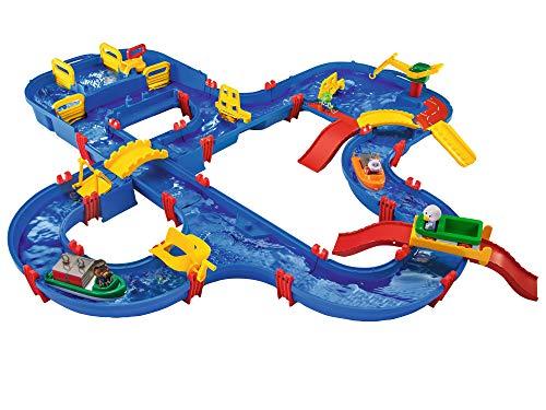 AquaPlay - AmphieWorld - 145 x 156 cm große Wasserbahn, inklusive 79 Teilen, Spieleset inklusive 2 Boote, Amphibienauto und 3 Spielfiguren, für Kinder ab 3 Jahren