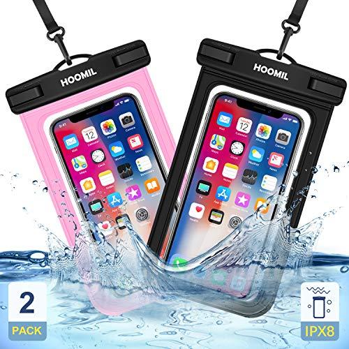HOOMIL wasserdichte Handyhülle, Universal Wasserdicht Handytasche Unterwasser IPX8 Wasserfeste Handy Hülle für Xiaomi Redmi Note 9S/Note 8 Pro/Mi 10 - Schwarz und Rosa