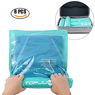 Space Saver Storage Bags for Clothes by TOPJUM No Vacuum or Air Pump Needed Travel Compress Vacuum Roll-Up Reusable Storage Bags Perfect Packing Organize (8, 4 Large (28  X 20 ), 4 Medium (24  X 16 ))