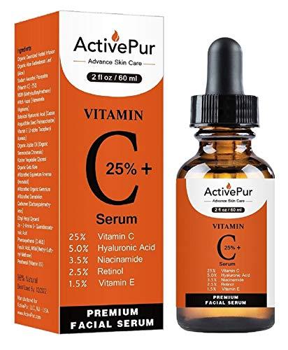 ActivePur 25% Vitamin C Serum for Face (2 Oz/60 ml) Vitamin E+B5, Hyaluronic Acid Serum for Face Retinol Ferulic Acid Niacinamide Collagen, Anti Aging Wrinkle Age Spots Eye circles Skin Moisturizer