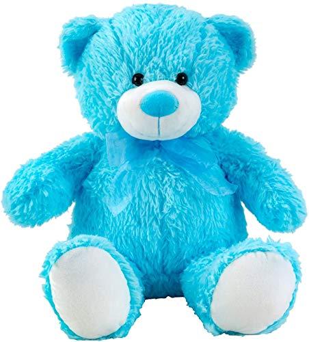 Teddybeer knuffelbeer blauw met strik 50 cm lang Pluche beer knuffel fluweelzacht - om van te houden