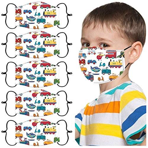 5 Stück Kinder Mundschutz, Multifunktionstuch 3D Cartoon Druck Mundschutz,Schule Mundschutz Pack, Waschbar Atmungsaktive Baumwolle Mund-Nasenschutz für Jungen Mädchen (A)