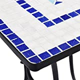 vidaXL Mosaik Bistrotisch Gartentisch Balkontisch Mosaiktisch Terrassentisch Tisch Beistelltisch Gartenmöbel Blau Weiß 60cm Keramik - 8