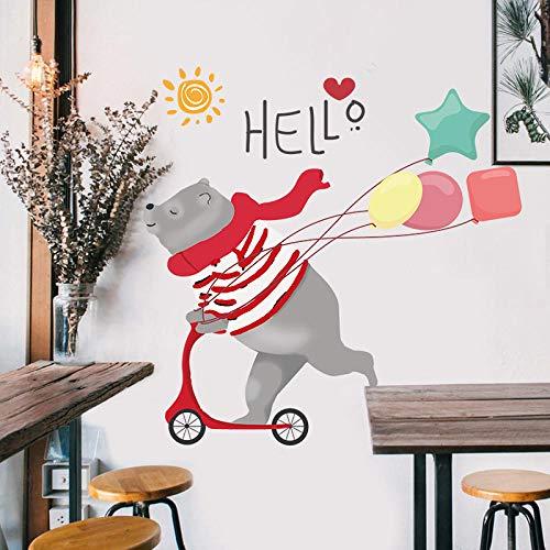 Wandaufkleber95*95Cm Cartoon Diy Super Cute Balloon Bear Wall Sticker, Suitable For Children'S Room, Sun Cloud Decoration, Furniture, Wardrobe, Bedroom, Living Room, Decoration