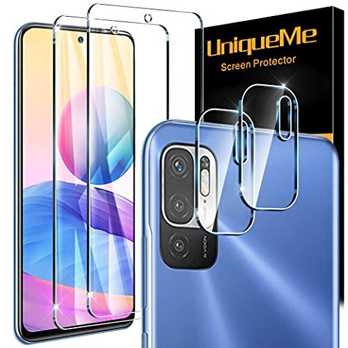 [4 Pezzi] UniqueMe Pellicola Protettiva Compatibile con Xiaomi Redmi Note 10 5G/Xiaomi Poco M3 Pro 5G, [Non applicabile Xiaomi Redmi Note 10 4G] 2 Pezzi Vetro Temperato e 2 Pezzi Pellicola Fotocamera