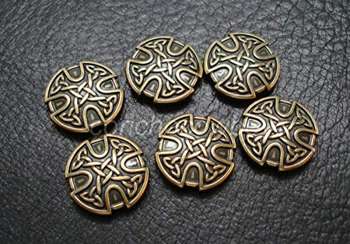 PUMICHA Conchos Supplies for Set of 6 Antique Brass Craft Celtic Cross Conchos 1 inch Screw Back Craft tack for mounting on Your Belt, Saddle Blanket, Hats, Wallet, Craft