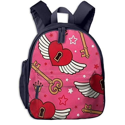 Kinderrucksack Kleinkind Jungen Mädchen Kindergartentasche Vektor Herzen Flügel Backpack Schultasche Rucksack
