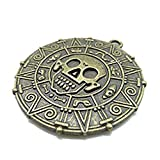 3pcs 40mm Antique Bronze Lovely Thick Round Skull Pirate Gold Coin Charm Pendant C1672