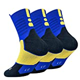 DISILE Elite Basketball Socks, Cushioned Dri-Fit Athletic Crew Socks - Thick Sports Socks For Boys Girls Men & Women
