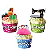 Decoraciones para tartas con forma de máquina de coser, bobinas de algodón y alfiletero - Decoración comestible para pasteles (pack de 12)