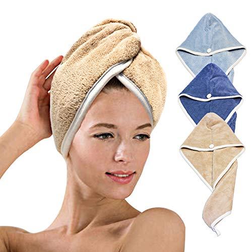 XZP Mikrofaser-Handtuch für Damen, schnell trocknend, Plüschhaar, schnell trocknende Handtücher, Mütze, sehr dickes Haar, trocknet in 3 Minuten (3 Farben samtiges...