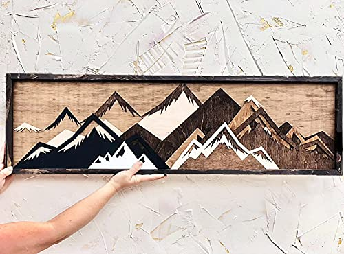 Adinbxeun 3D Wooden Framed Forest & Mountain Wood Wall Art Print, Handmade Wood Mountain Wall Art, Wooden 3D Forest Carving Wall Poster, Sunset and Moonlight Abstract Wall Decor (Landscape)
