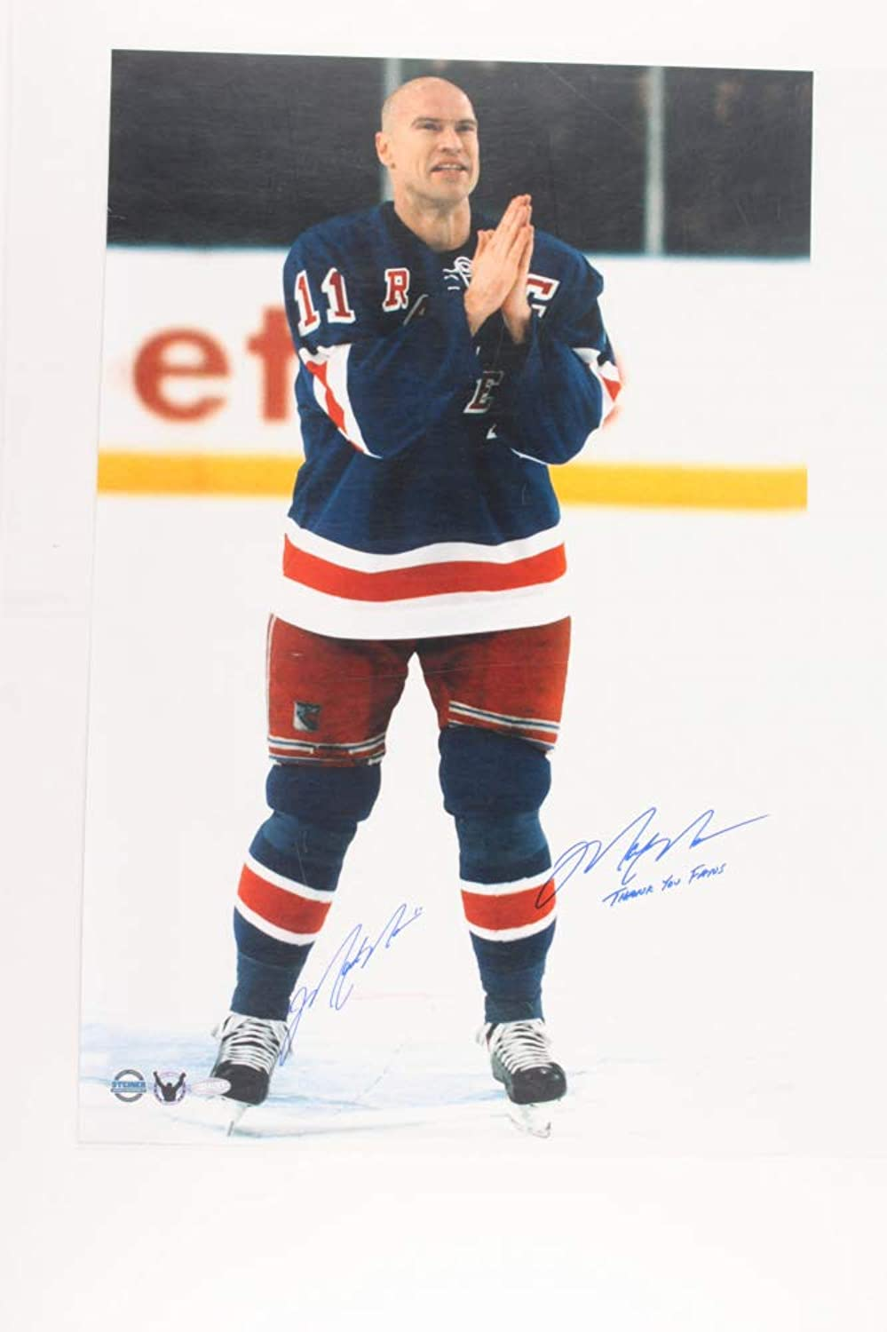 Mark Messier Signed Rangers 19.5x24 Photo Inscribed Thank You Fans (Steiner COA)