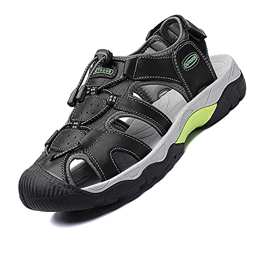 VTASQ Sandalias Deportivas para Hombre Verano Exterior Senderismo Zapatos Transpirable Peso Ligero Cuero Sandalias de Playa Trekking Casual Antideslizantes Zapatos de Montaña Negro 39-46