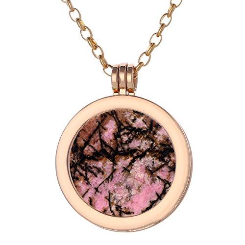 Morella Damen Halskette Gold 70 cm Edelstahl und Anhänger mit Edelstein Rhodonit Coin 33 mm Chakren Scheibe in Schmuckbeutel