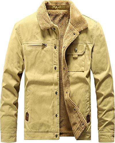 Vcansion Men's Winter Cotton Fleece Lined Jacket Single Breasted Outerwear Windbreakers Coats Khaki L