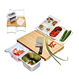 Durable Bamboo Cutting Board Set with 4 Container, Mats, Juice Groove for Kitchen, Wood Chopping for Meat Fruit Vegetables, Cheese Platter Service - FDA Approved