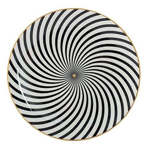 WBFN Dishes Plates,1PC Tableware Phnom Penh Geometry Tableware 6/8/10 Inch Ceramic Dinner Plate Dish Porcelain Dessert Plate Dinnerware Cake Plate (Color : A, Plate Size : 8 inch)