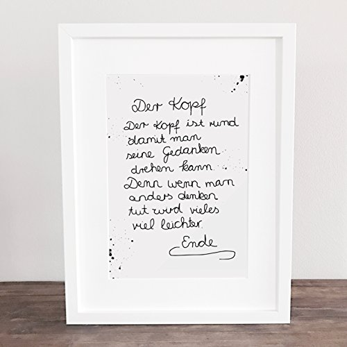 Bild, Poster, Kunstdruck, Kind, Kindermund, Gedanken, think positiveDer Kopf ist rund. ungerahmt