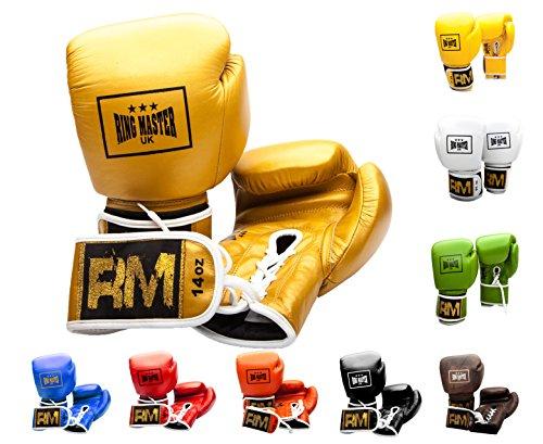 RingMaster Guantes de boxeo profesionales de cuero genuino del Reino Unido con cordones (530 ml, dorado)
