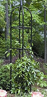 Tall Black Garden Obelisk. This Round Metal Trellis is a Nice Outdoor Fixture for Climbing Vines and Plants.