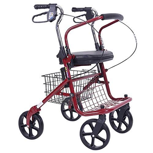SONGYU Faltbare Gehhilfe, Gehhilfe, Rollator, Einkaufswagen mit Sitz und Handbremse, für ältere Erwachsene Gehhilfe