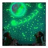 Feliciay - Adesivo da parete rimovibile con stelle incandescenti, 30 cm, colore luna, alce e Babbo Natale, decorazione per camera dei bambini o regalo di compleanno (883 pezzi, verde)