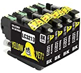 Yellow Yeti Ersatz für Brother LC3213 LC3213BK 4 Druckerpatronen Schwarz kompatibel für Brother DCP-J572DW DCP-J774DW MFC-J895DW MFC-J497DW MFC-J890DW DCP-J772DW MFC-J491DW