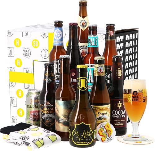 Coffret Beer Daddy - Idée cadeau - 11 bières, un verre, chaussette