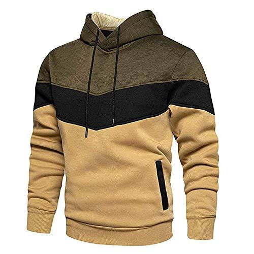 NEEKY Herren Kapuzenpullover Hoodie Patchwork Fleece Pullover Langarm Sweatshirt Sport Outwear Hoody Casual Tops mit Tasche Sweatjacke